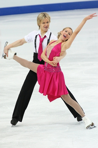 "Christina Chitwood and Mark Hanretty performing to ""Bei Mir Bist Du Schön"" from The Swing Kids at the 2009 European Championships. (Photo by Liz Chastney)"