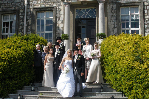 American and British Family Together at Chrissy and Tom's 2009 Wedding at Hazlewood Castle Near Leeds, England.