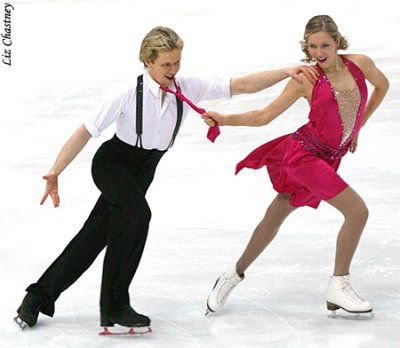 "Christina Chitwood and Mark Hanretty having fun performing to ""Bei Mir Bist Du Schön"" from The Swing Kids at the 2009 European Championships. (Photo by Liz Chastney)"
