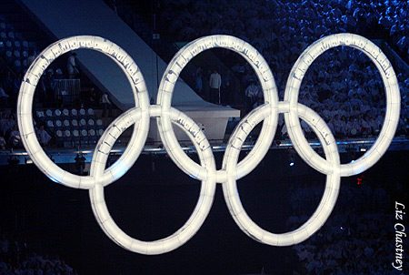 Olympic Rings from the 2010 Winter Olymics Opening Ceremony (Photo by Liz Chastney)