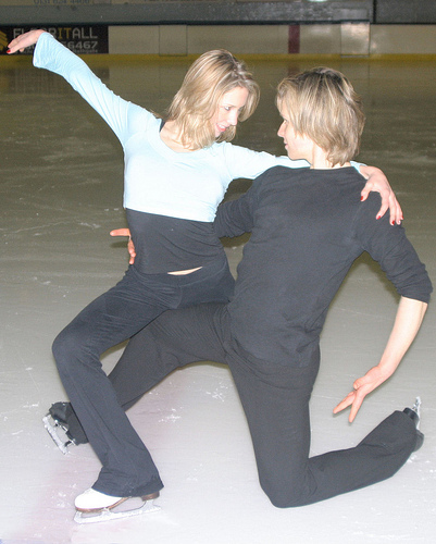 Christina and Mark dressed for ice-dance practice at a cold rink in Edinburgh, Scotland.