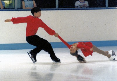 Will (13) and Christina (8) during their 1998-99 pairs season when they won their first Junior Olympics/Junior Nationals medal.
