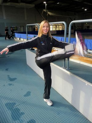 Christina warming up for the 2009 NRW Trophy, Dortmund, Germany.
