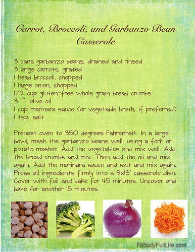 Gluten-Free, Vegan Carrot, Broccoli, and Garbanzo Bean Casserole Recipe