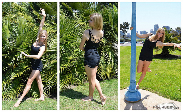 Christina modeling Ellie's Black Swan Tank and Moon Shadow Short