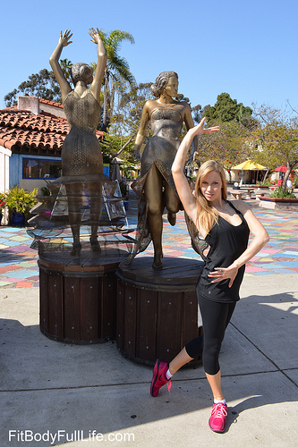 Christina modeling Ellie's Back In Black Tank and Little Black Capri