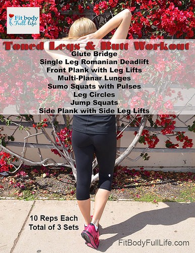 Free Printable Toned Legs and Butt Workout