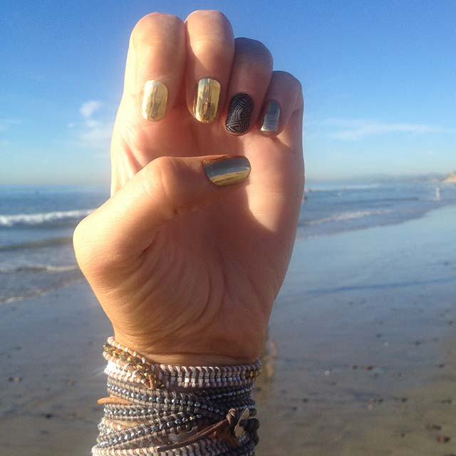 Jamberry Nail Wrap Styles - Mirror Metallic Gold with Sheer Genius - Christina Chitwood Performance - Square