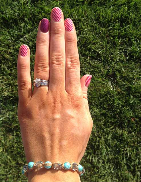 Jamberry Nail Wrap Styles - Skinny Pink with Raspberry Sparkle - Christina Chitwood Performance