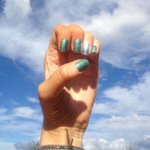 Jamberry Nail Wrap Styles - Peppermint Patty with Metallic Chrome Silver - square photo - Christina Chitwood Performance