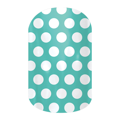 White & Teal Polka - B127 - Jamberry Nail Wraps