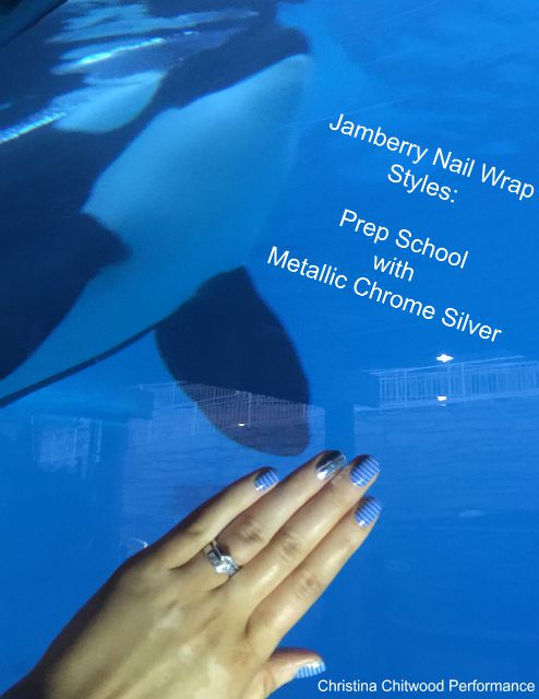 Jamberry Nail Wrap Styles: Prep School with Metallic Chrome Silver (at SeaWorld with the killer whales)