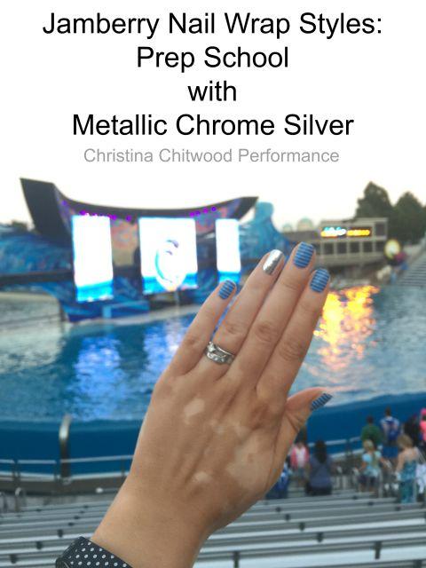 Jamberry Nail Wraps Styles: Prep School with Metallic Chrome Silver (at Seaworld)