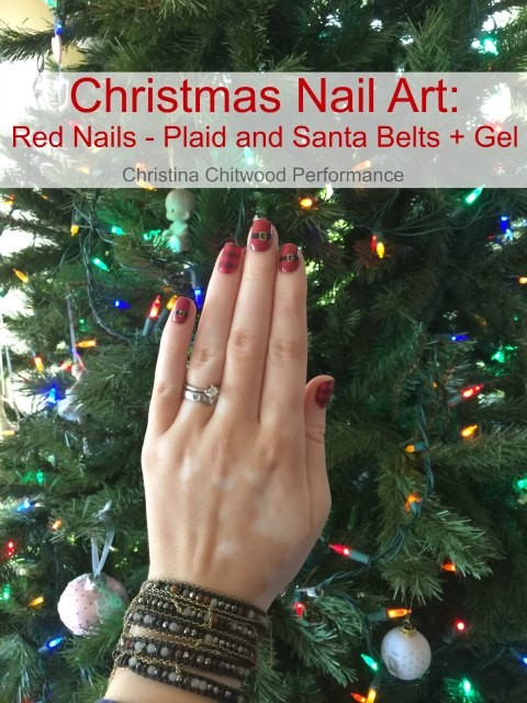 Christmas Nail Art Red Nails - Plaid and Santa Belts + Gel