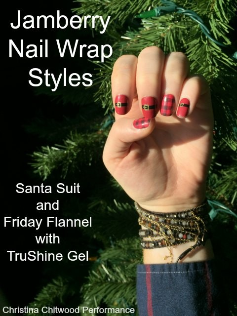 Jamberry Nail Wrap Styles : Santa Suit and Friday Flannel with TruShine Gel