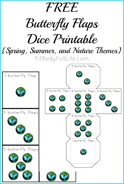 FREE Butterfly Flaps Dice Printable {Spring, Summer, and Nature Themes Instant Download}