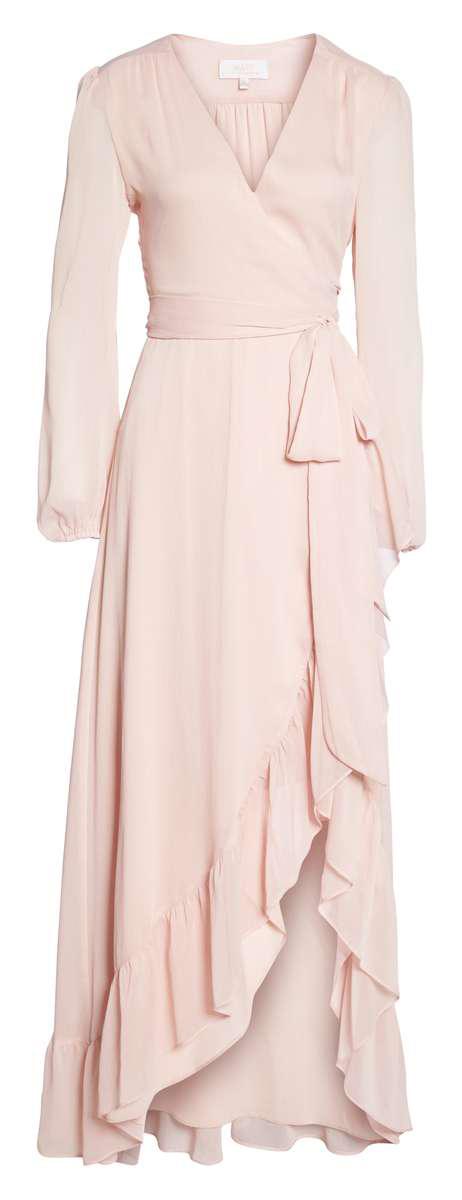 WAYF Meryl Long Sleeve Wrap Maxi Dress