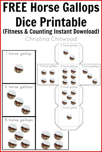 FREE Horse Gallops Dice Printable {Fitness & Counting Instant Download}