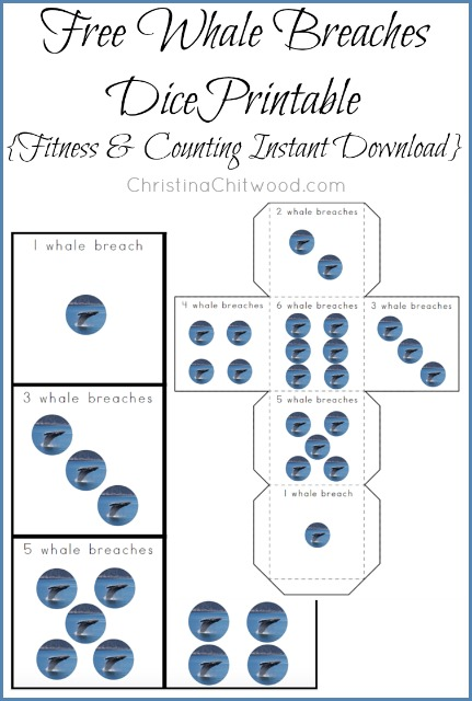 Free Whale Breaches Dice Printable {Fitness & Counting Instant Download}