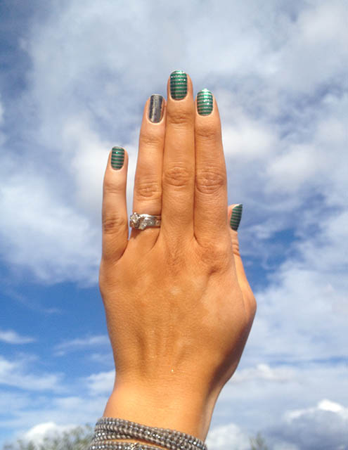 Jamberry Nail Wrap Styles: Peppermint Patty with Metallic Chrome Silver