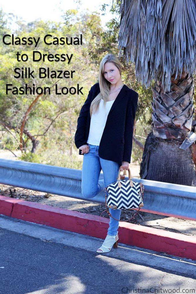 Classy Casual to Dressy Silk Blazer Fashion Look