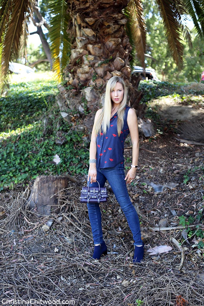 Silk Equipment Top, Frame Denim Jeans, Luella Handbag, and Aquatalia Shoes - 2