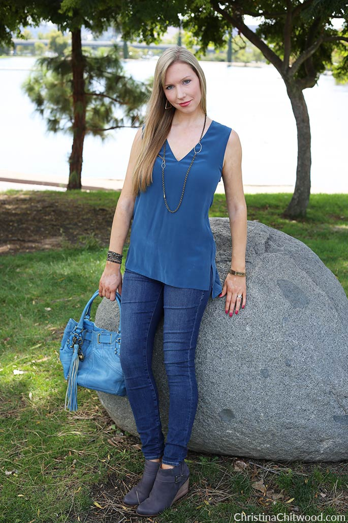 Equipment Silk Top, Frame Denim Jeans, Juicy Couture Handbag, and Caslon Booties - 1