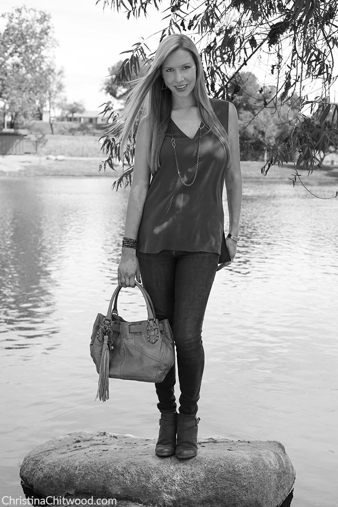 Equipment Silk Top, Frame Denim Jeans, Juicy Couture Handbag, and Caslon Booties - 2