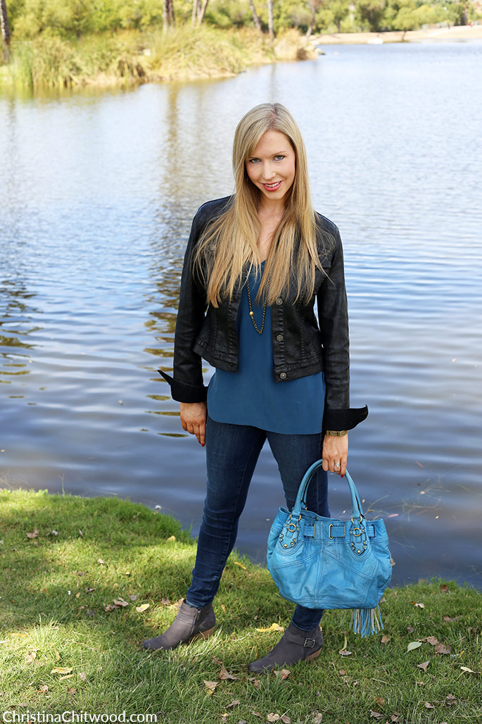 Equipment Silk Top, Frame Denim Jeans, Juicy Couture Handbag, and Caslon Booties - 3