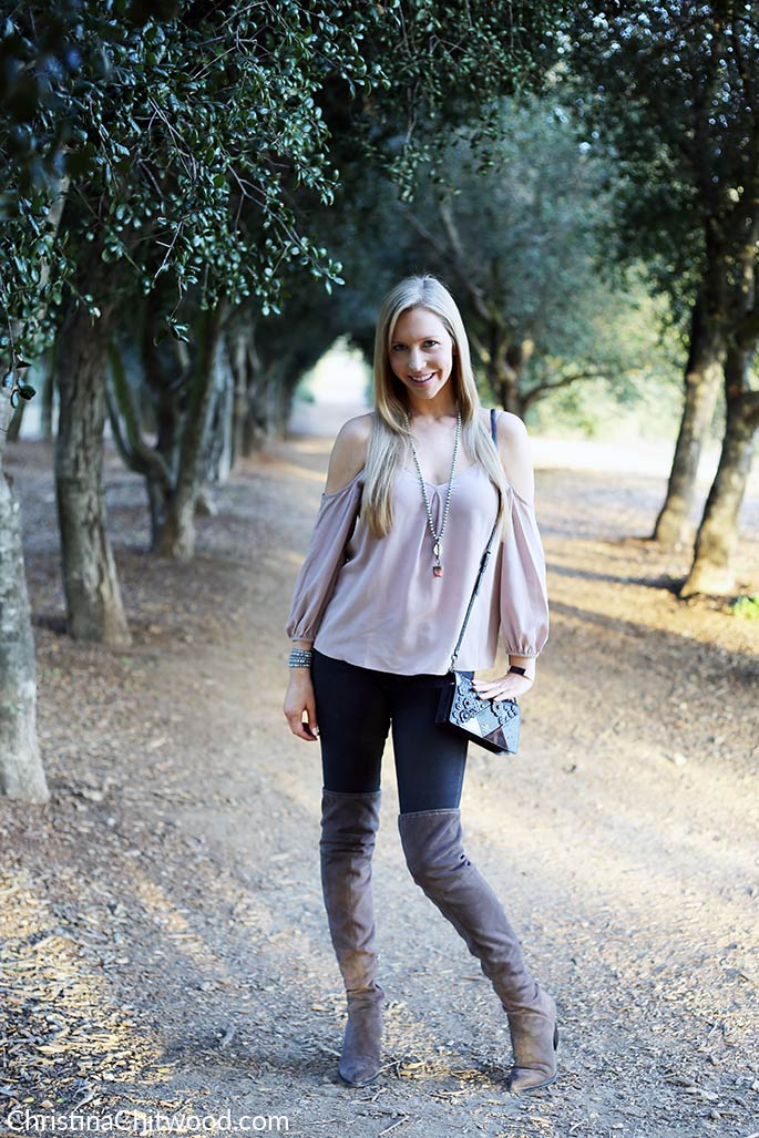 Joie Silk Top, Frame Jeans, Coach Crossbody Handbag, and Marc Fisher Boots - 2