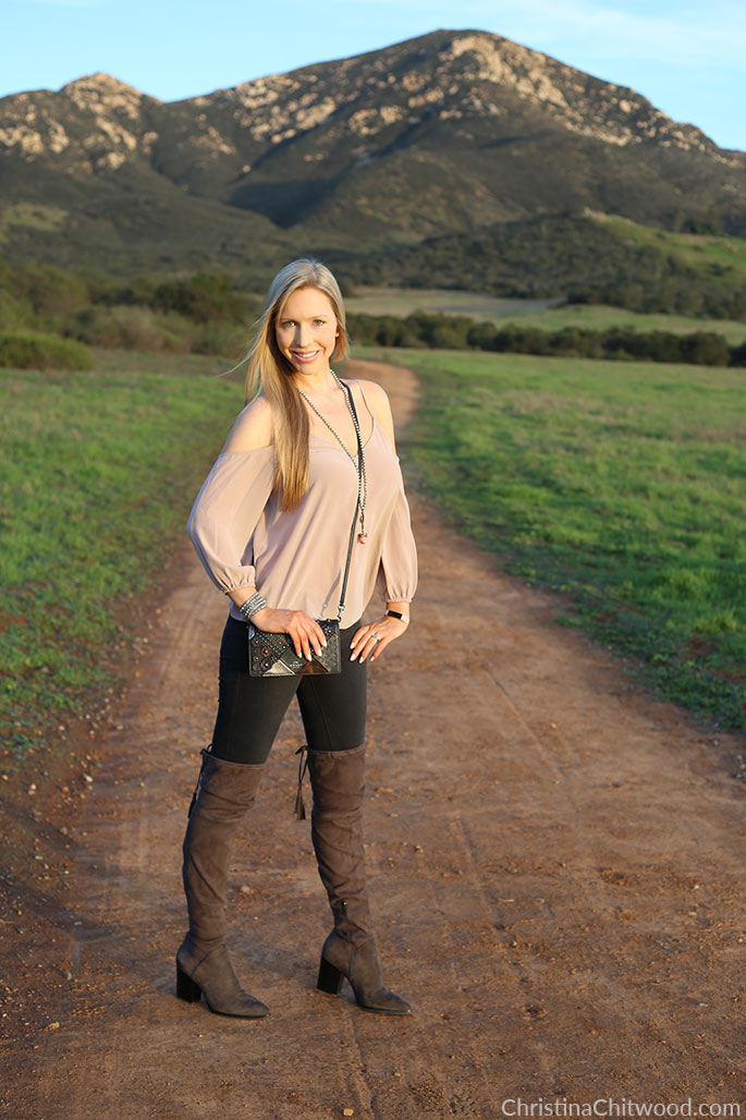 Joie Silk Top, Frame Jeans, Coach Crossbody Handbag, and Marc Fisher Boots - 3
