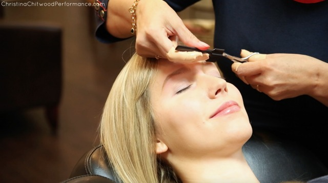 Christina Getting Her Eyebrow Trimmed and Touched Up