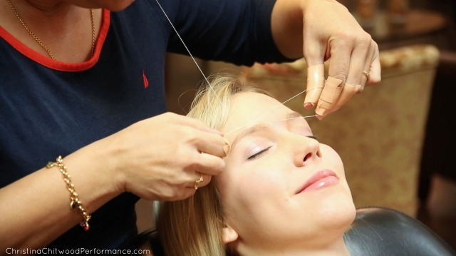Christina Getting Her Eyebrows Threaded