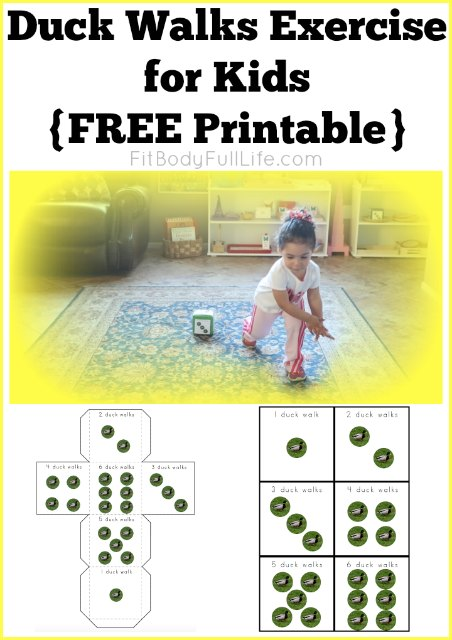 Duck Walks Exercise for Kids {FREE Printable}