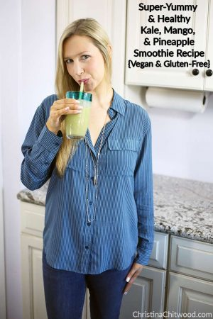 Super-Yummy and Healthy Kale, Mango, and Pineapple Smoothie Recipe {Vegan and Gluten-Free}