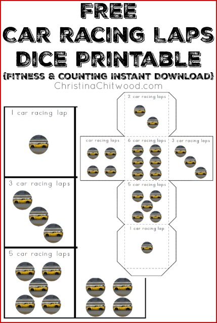 FREE Car Racing Laps Dice Printable {Fitness & Counting Instant Download}