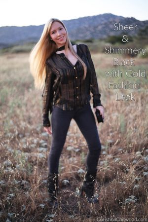 Sheer and Shimmery Black with Gold Fashion Look