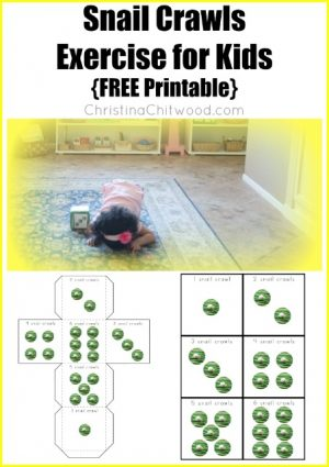 Snail Crawls Exercise for Kids {FREE Printable}