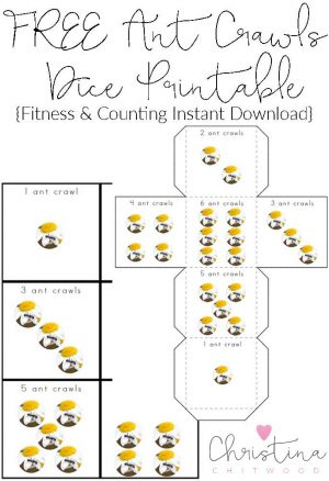FREE Ant Crawls Dice Printable {Fitness & Counting Instant Download}