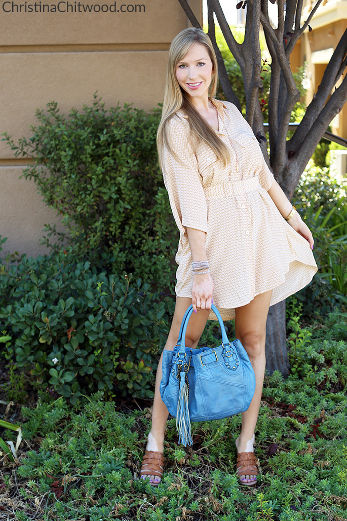 Silk Equipment Dress, UGG Wedge Sandals, and Juicy Couture Handbag - 3