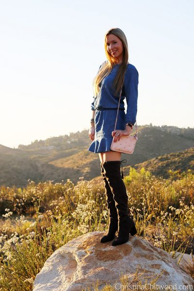 Joie Dress, Marc Fisher Boots, and Ted Baker Handbag - 4
