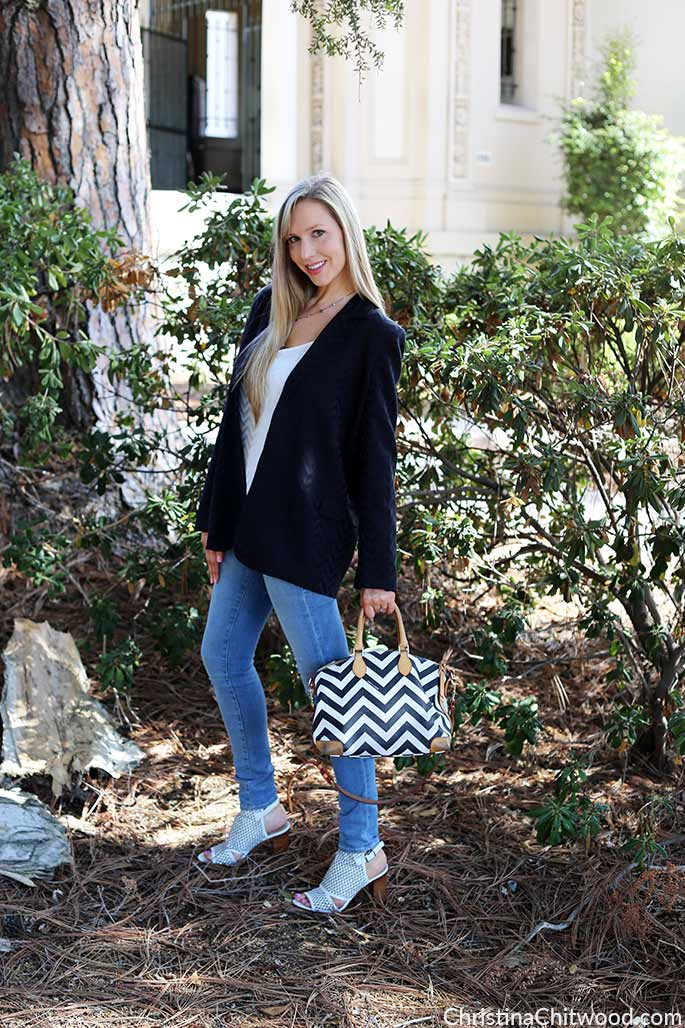 Silk Equipment Blazer, Equipment Top, Frame Denim Jeans, Dooney and Bourke Handbag, and Via Spiga Shoes - 1
