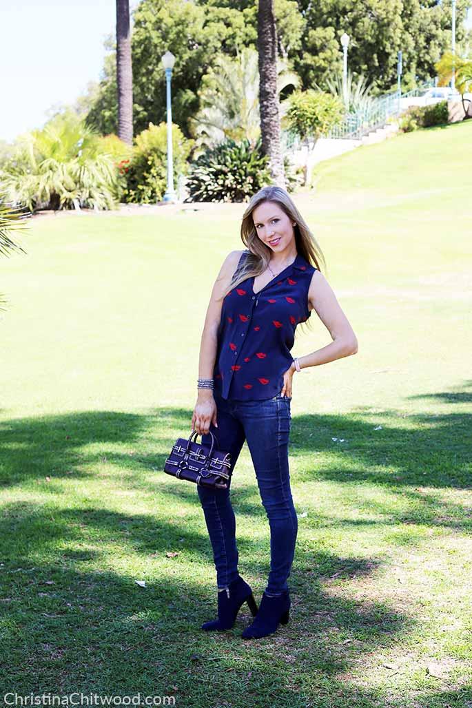 Silk Equipment Top, Frame Denim Jeans, Luella Handbag, and Aquatalia Shoes - 3