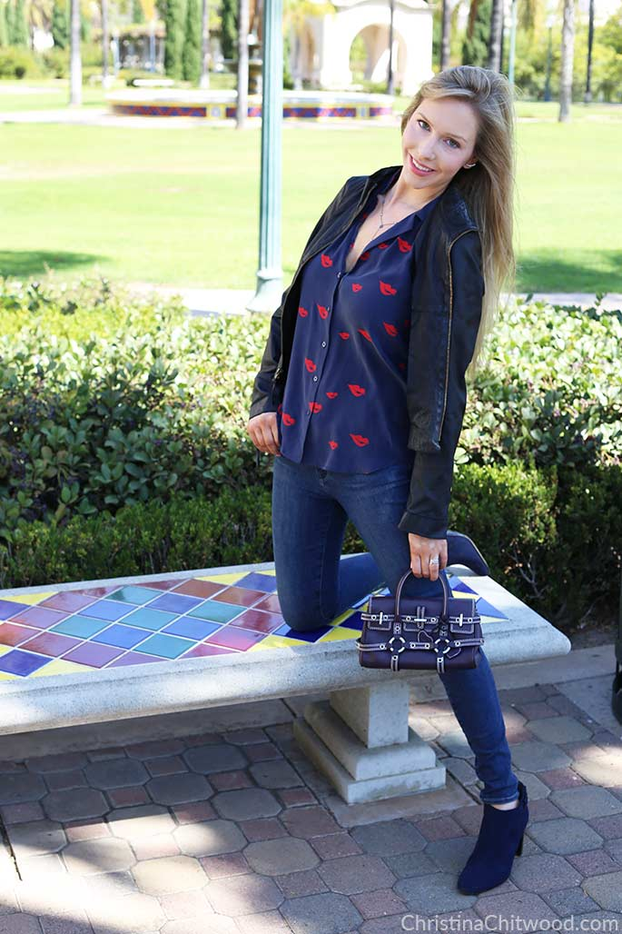 Silk Equipment Top, Frame Denim Jeans, Luella Handbag, and Aquatalia Shoes - 4