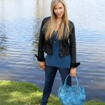 Bold Teal Blue with Gold Accents Fashion Look