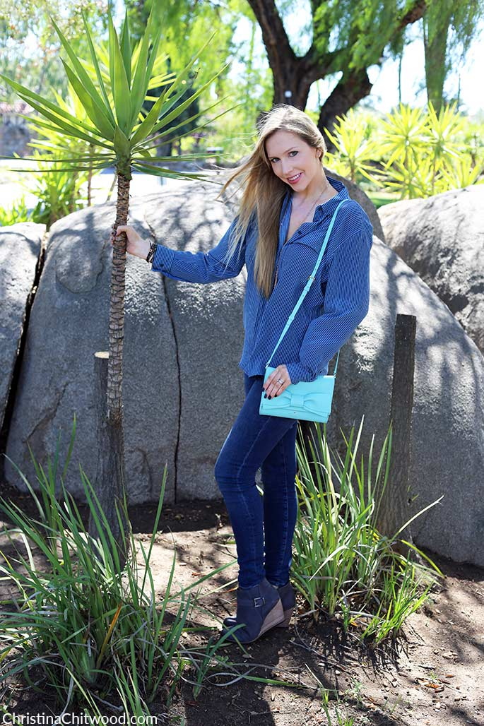 Equipment Silk Top, Frame Denim Jeans, Kate Spade Handbag, and Caslon Booties - 1