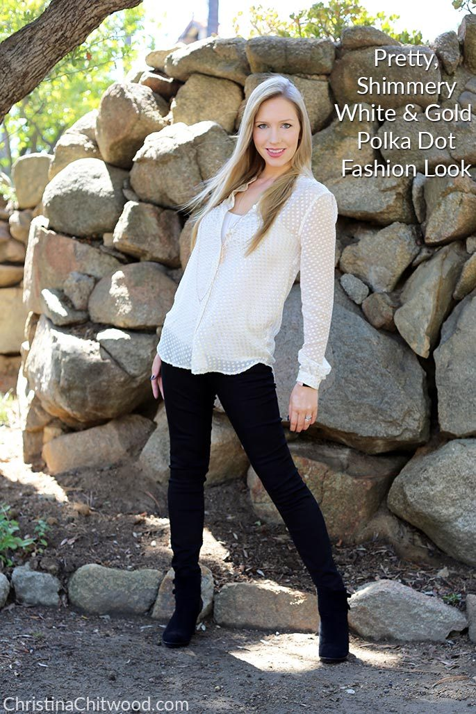 Pretty, Shimmery White & Gold Polka Dot Fashion Look