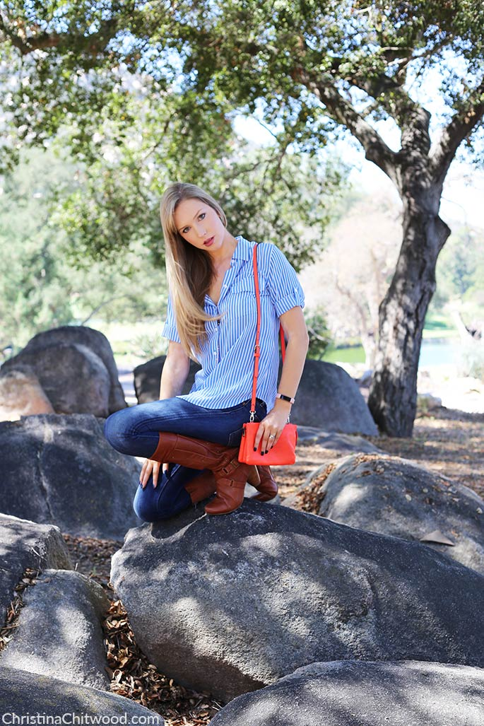 Silk Equipment Top, Red Engine Jeans, Vince Camuto Handbag, and Miz Mooz Boots - 1