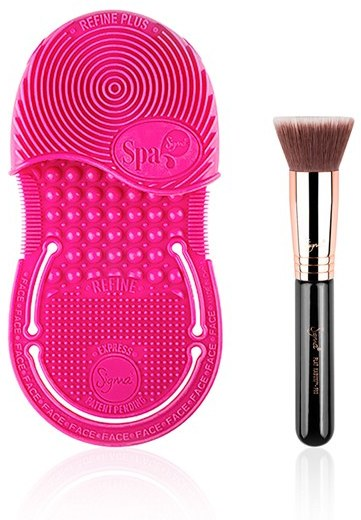 Sigma Spa Beauty Power Pair Duo - Express Brush Cleaning Glove and Kabuki Brush
