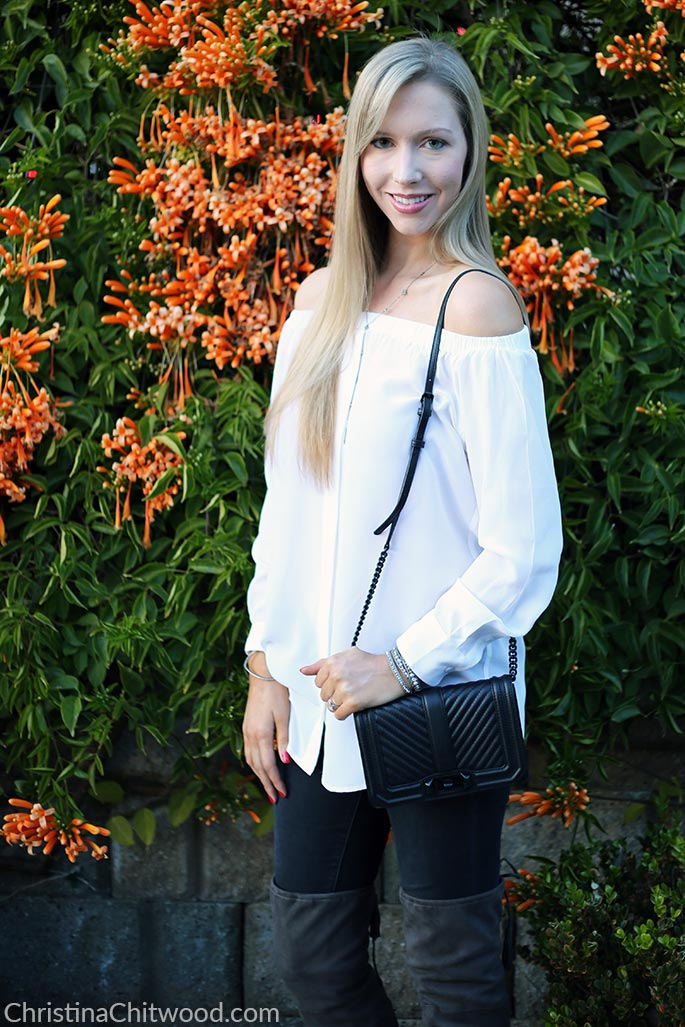 Equipment Top, Frame Jeans, Rebecca Minkoff Handbag, and Marc Fisher Boots - 4